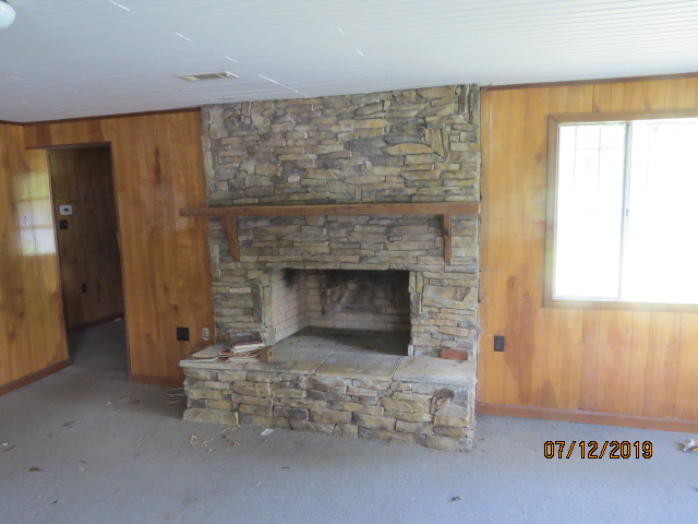 The fireplace in the cabin